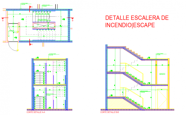 Stair Floor Plan And Sections Detail Dwg Files