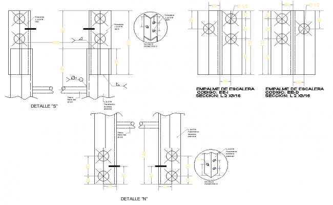 Stair junction section plan autocad file