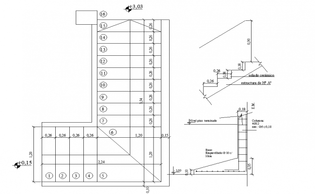 Stair plan, elevation and foundation section plan detail dwg file