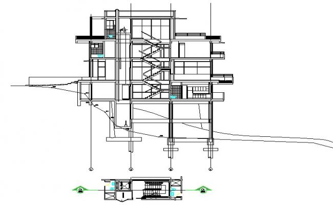 Stair plan and Section housing detail dwg file