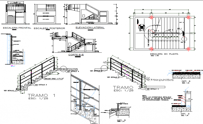 Elevation And Plan Difference : Stair plan and elevation section detail dwg file