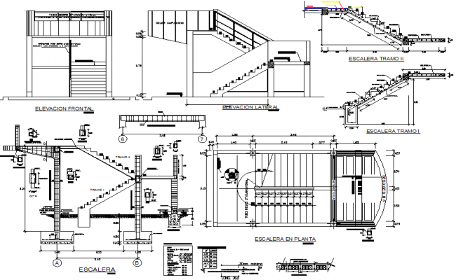 Stair plan and elevation, section detail dwg file
