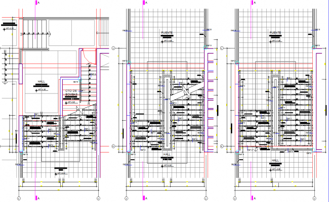 Stair plan and hall detail dwg file