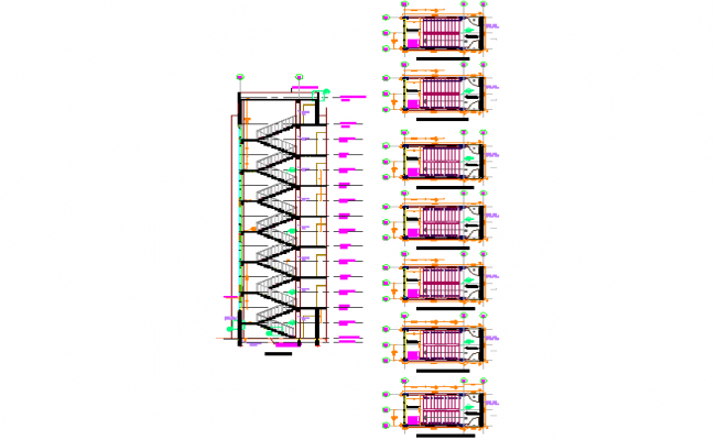 Stair plan and section Apartment flat plan detail dwg file