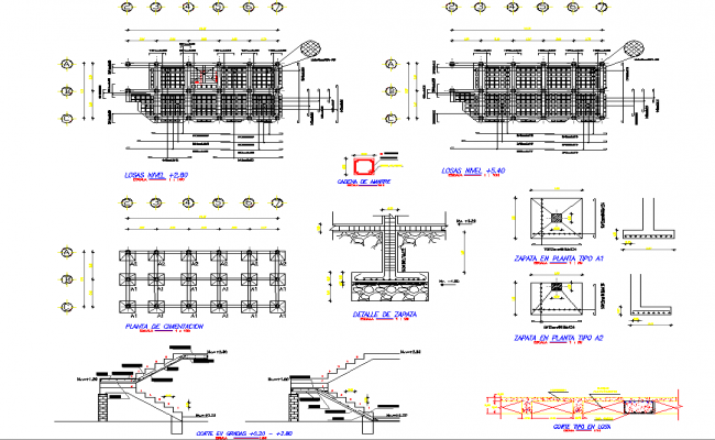 Stair section and foundation section detail dwg file