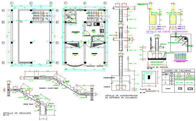 Stair section and foundation section plan detail dwg file