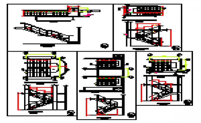 Stair section detail design drawing of Hospital design drawing