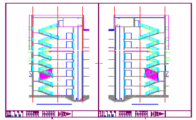 Stair section detail design drawing of high rise building