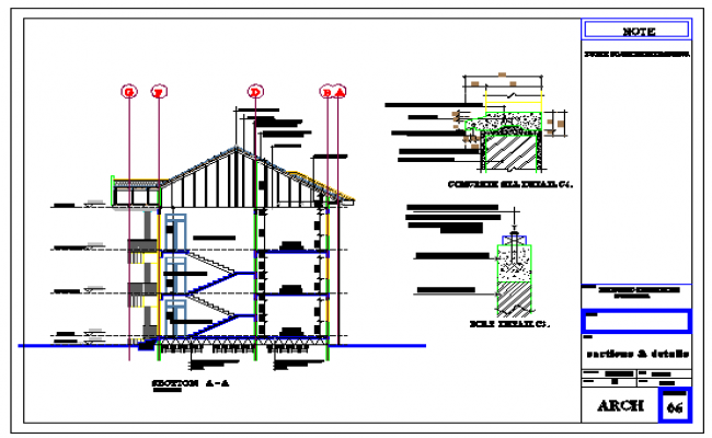 Stair section detail design drawing of residential design drawing