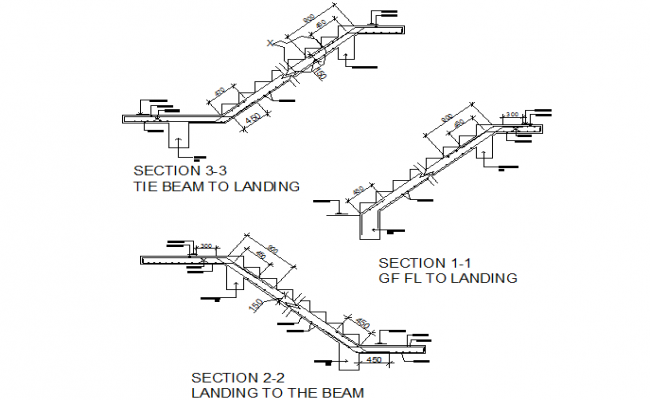 Stair section detail dwg file