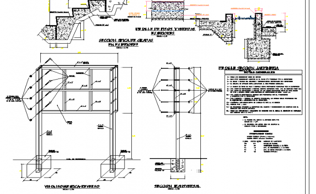 Stair section plan and wall elevation plan detail dwg file