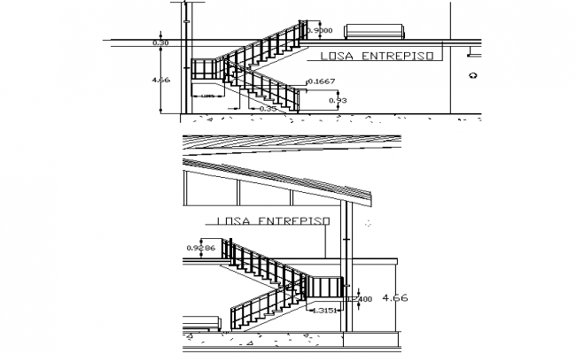 Stair section plan detail dwg file