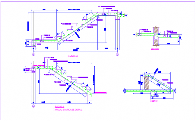 Stair section view with construction detail for house dwg file