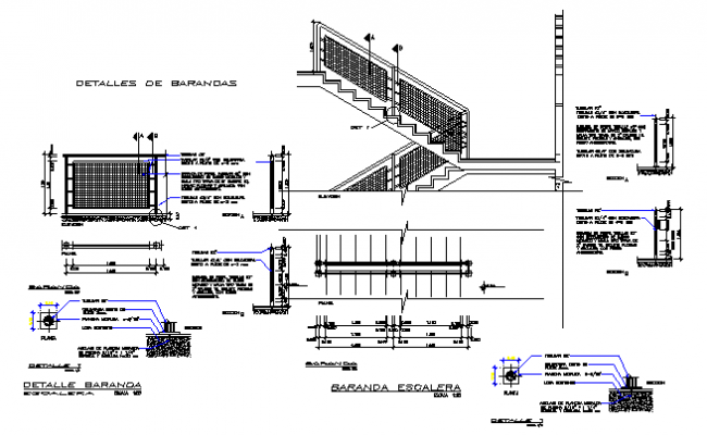 Stair section working plan detail dwg file
