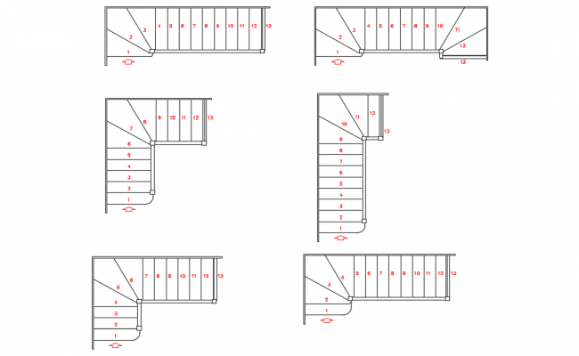 Stair simple view with construction dwg file