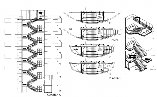 Stair structure detail elevation, plan and section 2d view layout file