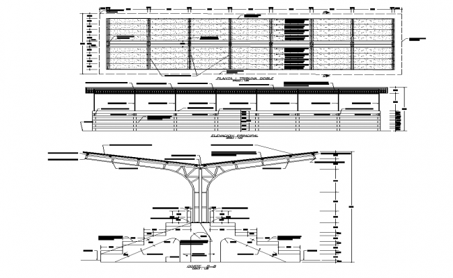 Stair structure detail elevation 2d view layout autocad file