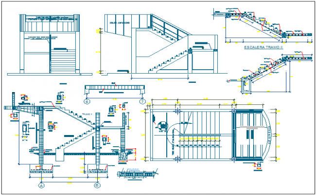 Elegant Stair Structure Detail View And Plan Section View Detail Dwg File