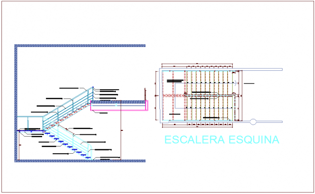 Stair view with construction detail view dwg file