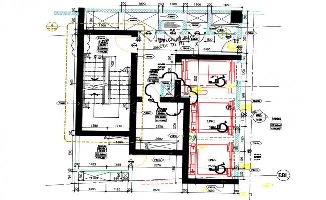 Staircase And Lift For Commercial Building CAD Drawing
