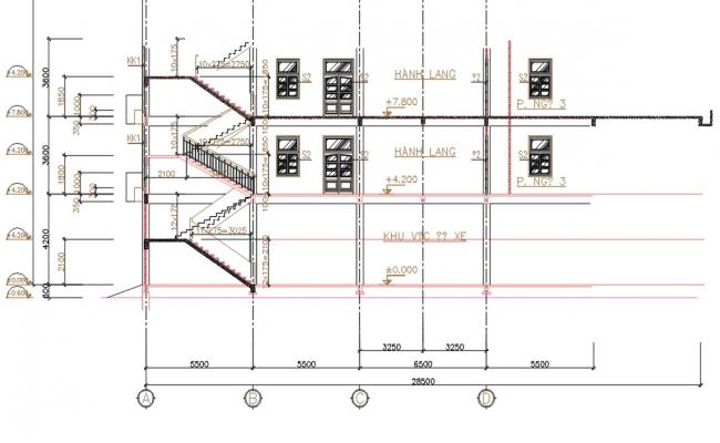 Staircase Building Section Plan