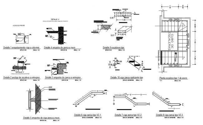 Staircase Construction Details In AutoCAD File
