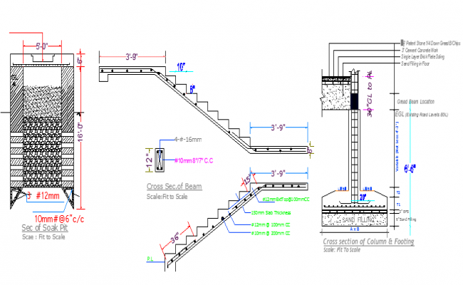 Staircase Construction Details and Elevation dwg file