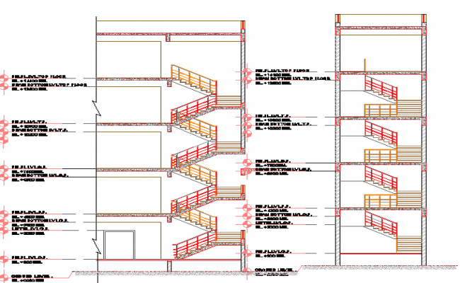 Staircase Details of multi-flooring building dwg file