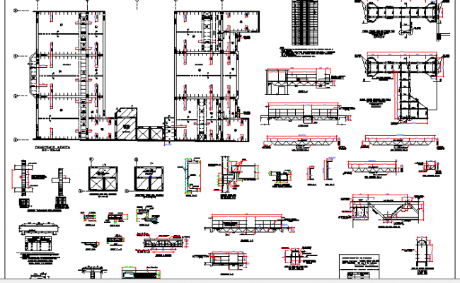 Staircase and Construction Details of High Rise Apartment Building dwg file