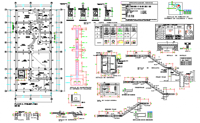 Staircase and Foundation plan autocad file