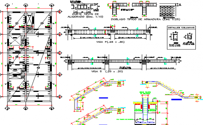 Staircase and construction details of Two flooring bungalow dwg file
