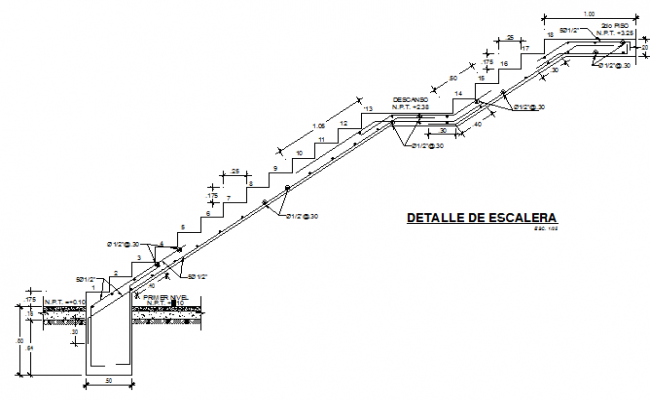 Staircase and construction details of house dwg file
