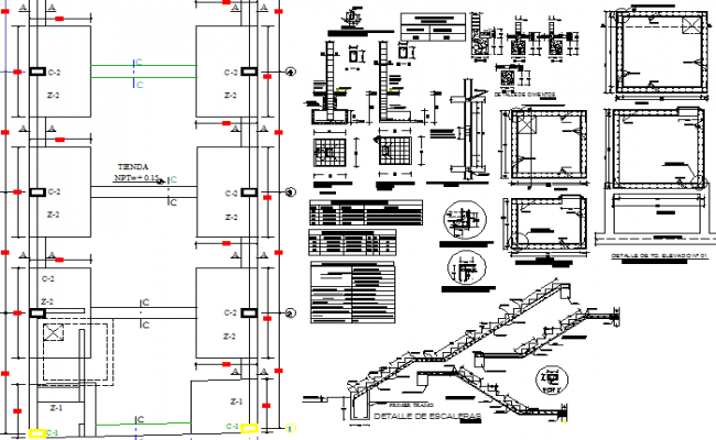 Staircase and construction details of office building dwg file