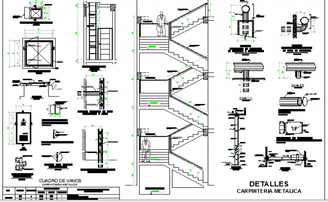 Staircase and construction details of school design dwg file