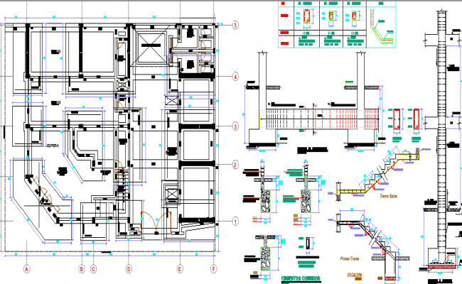 Staircase, construction details of three flooring bungalow design dwg file