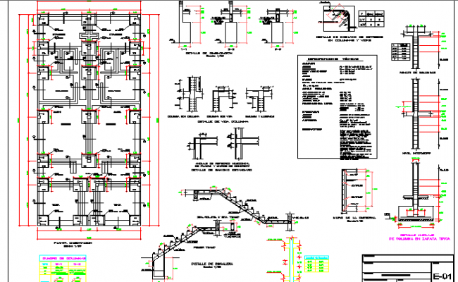 Staircase and constructive details of multi-flooring housing building dwg file