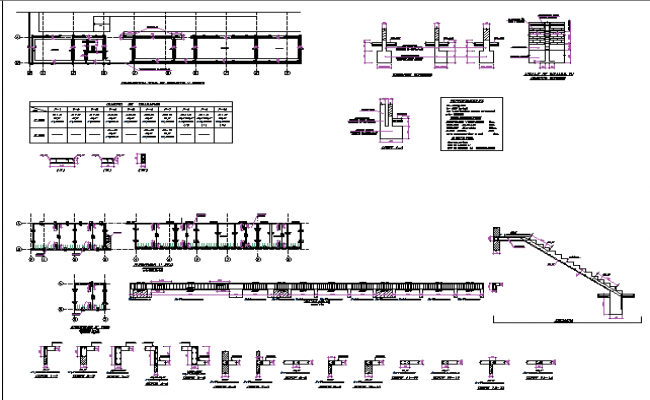 Staircase and constructive details of office dwg file
