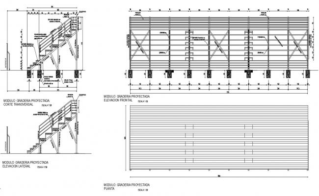 Staircase and roofing structure sectional blocks dwg autocad file