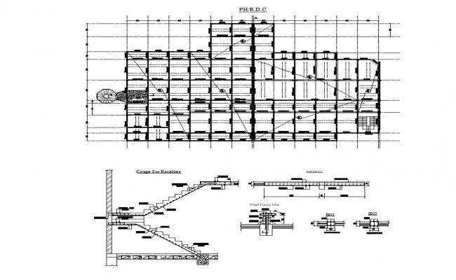 Staircase construction detail 2d view CAD structural block layout autocad file