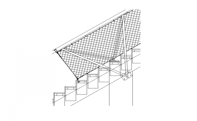 Staircase construction detail elevation 2d view layout file
