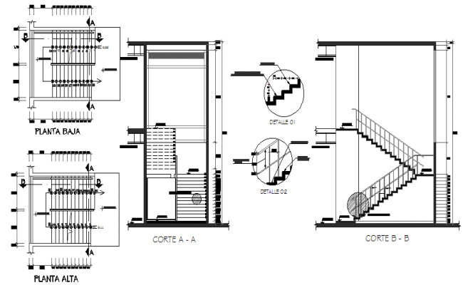 Staircase Construction Details Of Kitchen Stairs Dwg File