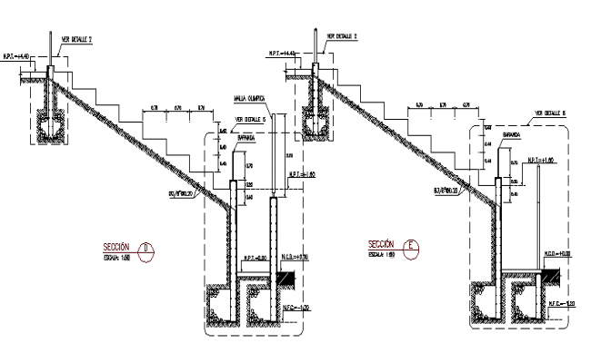 Staircase construction details of sports field dwg file
