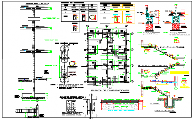 Staircase construction details with column and beam details dwg file