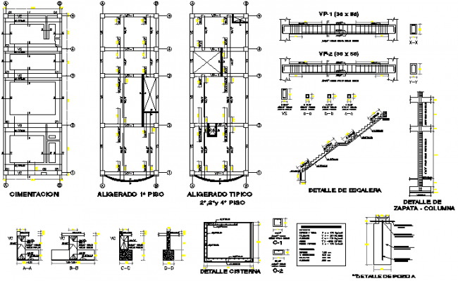 Staircase construction details with foundation plan dwg file