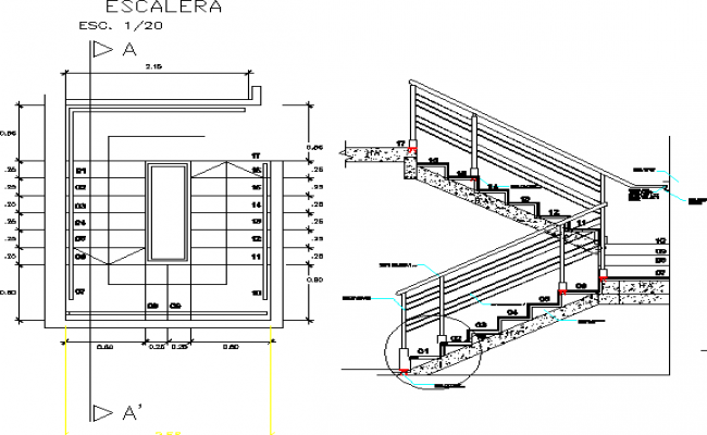Staircase construction details with wall details dwg file