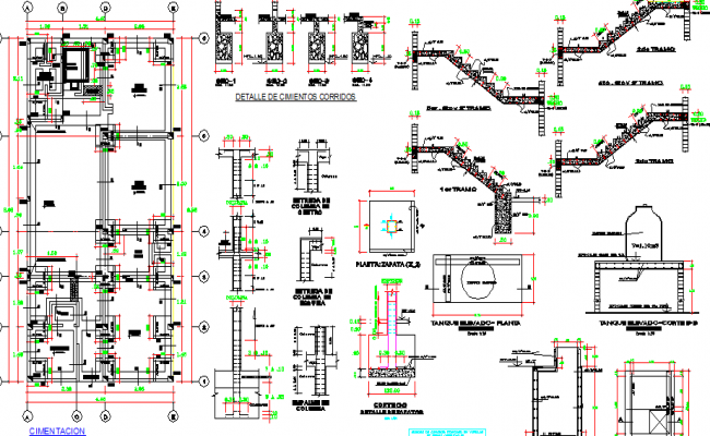 Staircase construction with column and beam of admin office dwg file