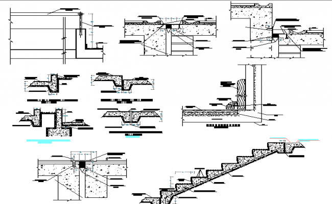 Staircase construction with column and beam of industrial plant dwg file
