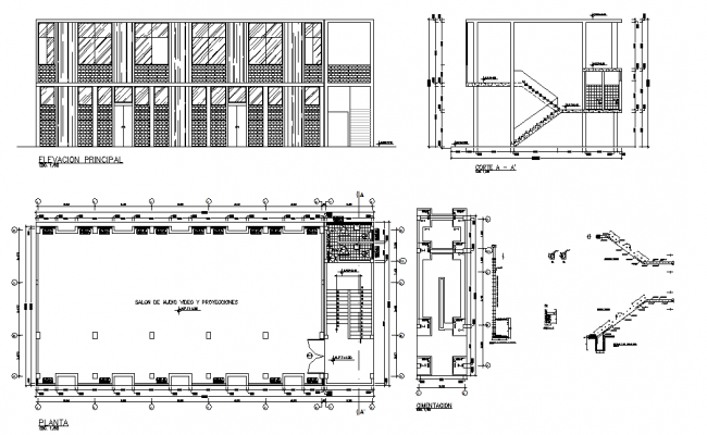 Staircase design and elevation dwg file