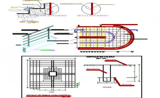 Staircase design and sectional details dwg file