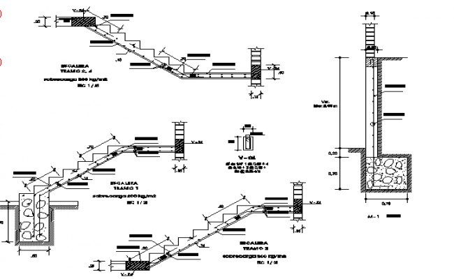 Staircase design and sectional elevation dwg file